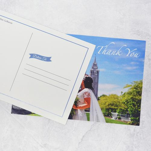Thank you cardsRemember to thank your quests for sharing your special day. You can't go wrong with a classic folded card. Postcards are fun and casual
